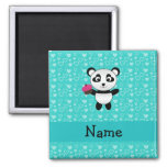Personalized name panda cupcake turquoise hearts magnet