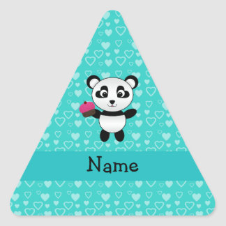 Personalized name panda cupcake turquoise hearts triangle stickers