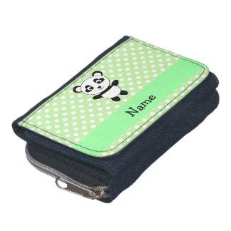 Personalized name panda green polka dots wallets
