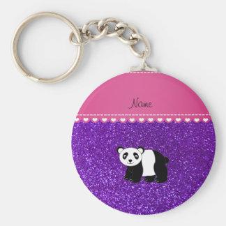 Personalized name panda indigo purple glitter basic round button key ring