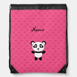 Personalized name panda pink hearts drawstring backpacks