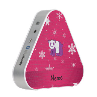 Personalized name panda pink snowflakes bluetooth speaker