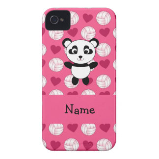 Personalized name panda pink volleyball hearts iPhone 4 Case-Mate case