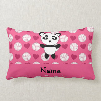 Personalized name panda pink volleyball hearts lumbar cushion