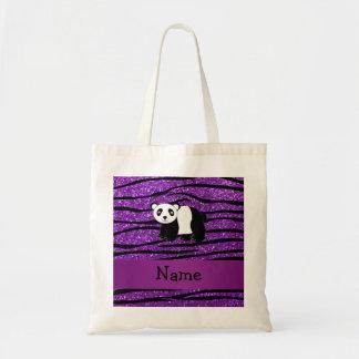 Personalized name panda purple glitter zebra tote bag