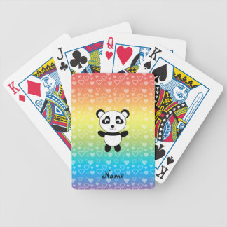 Personalized name panda rainbow hearts bicycle playing cards