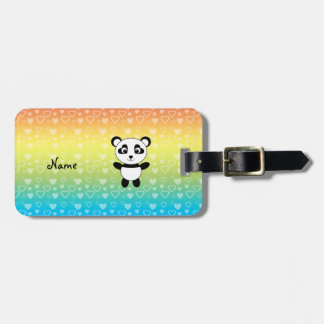 Personalized name panda rainbow hearts luggage tag