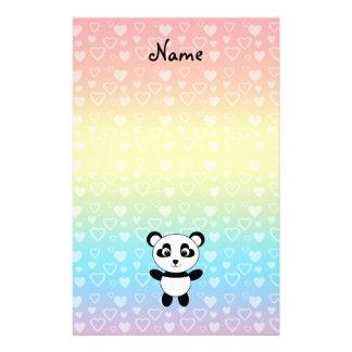 Personalized name panda rainbow hearts stationery design