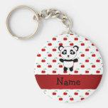 Personalized name panda red cherries keychain