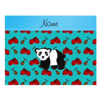 Personalized name panda turquoise boxing gloves post cards