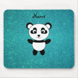 Personalized name panda turquoise glitter mouse pads
