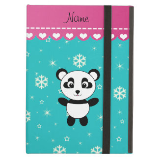Personalized name panda turquoise snowflakes iPad air cases