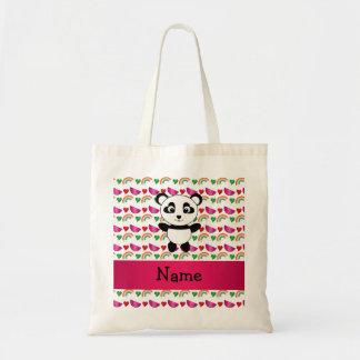 Personalized name panda watermelons hearts rainbow tote bag