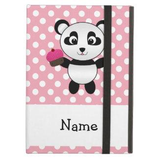 Personalized name panda with cupcake polka dots iPad air cover
