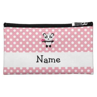 Personalized name panda with cupcake polka dots makeup bag