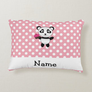 Personalized name panda with cupcake polka dots accent pillow