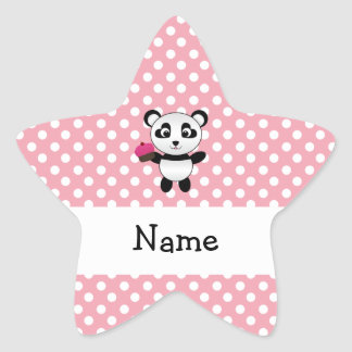 Personalized name panda with cupcake polka dots star sticker