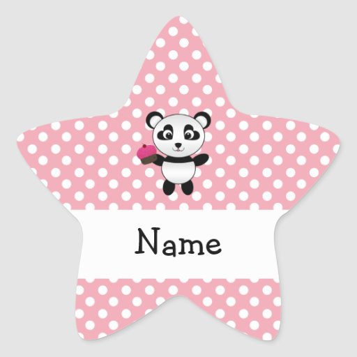 Personalized name panda with cupcake polka dots star stickers