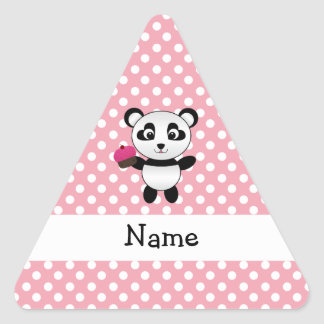 Personalized name panda with cupcake polka dots triangle sticker