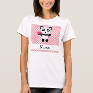 Personalized name panda with cupcake polka dots T-Shirt