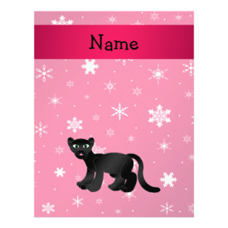Personalized name panther pink snowflakes 21.5 cm x 28 cm flyer