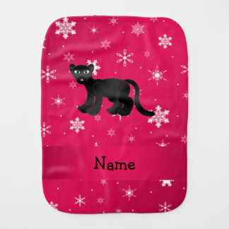 Personalized name panther pink snowflakes baby burp cloths