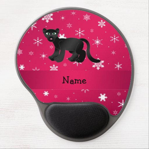 Personalized name panther pink snowflakes gel mouse pad