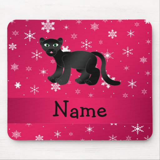 Personalized name panther pink snowflakes mouse pad