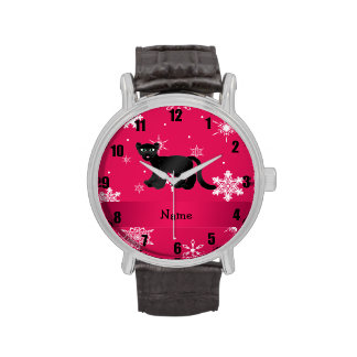 Personalized name panther pink snowflakes wrist watches