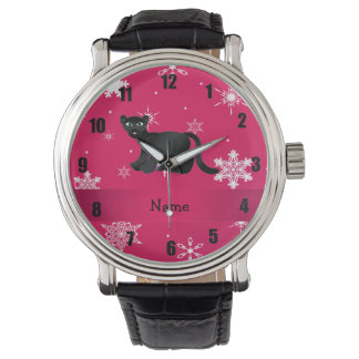 Personalized name panther pink snowflakes wristwatch