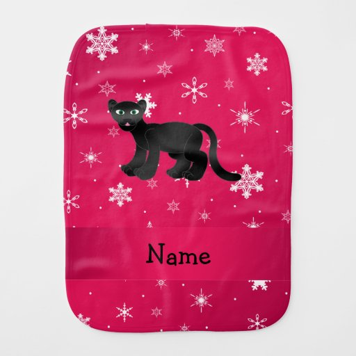 Personalized name panther pink snowflakes baby burp cloth