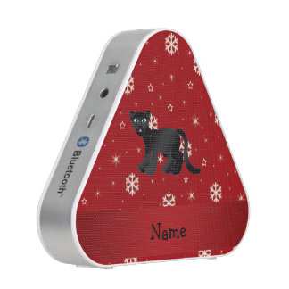 Personalized name panther red snowflakes bluetooth speaker