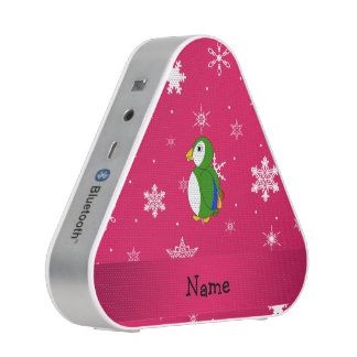 Personalized name parrot pink snowflakes speaker