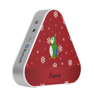 Personalized name parrot red snowflakes bluetooth speaker