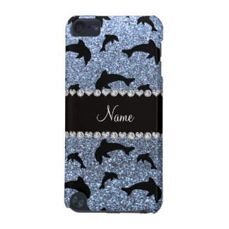 Personalized name pastel blue glitter dolphins iPod touch 5G covers
