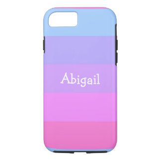 Personalized Name Pastel Colors Striped iPhone 7 Case