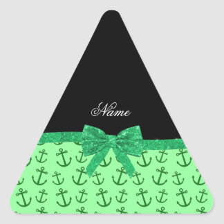 Personalized name pastel green anchors bow triangle stickers