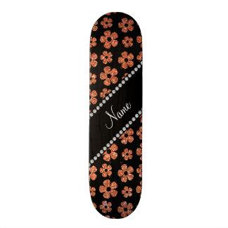 Personalized name pastel orange glitter flowers custom skate board