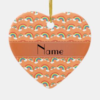 Personalized name pastel orange rainbows pattern christmas tree ornament