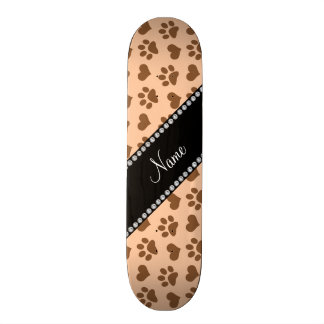 Personalized name pastel peach hearts and paw prin skate board