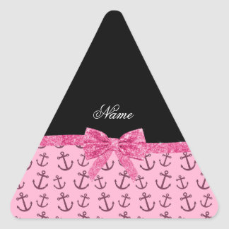 Personalized name pastel pink anchors bow triangle sticker