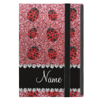 Personalized name pastel pink glitter ladybug case for iPad mini