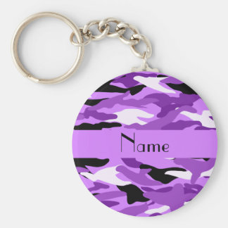 Personalized name pastel purple camouflage basic round button key ring