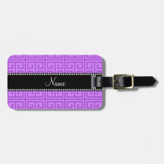Personalized name pastel purple greek key pattern luggage tag