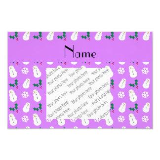 Personalized name pastel purple snowman christmas photo