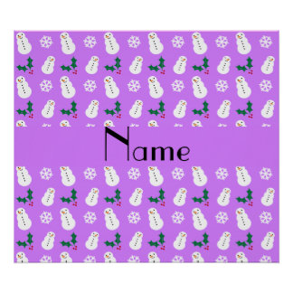 Personalized name pastel purple snowman christmas poster