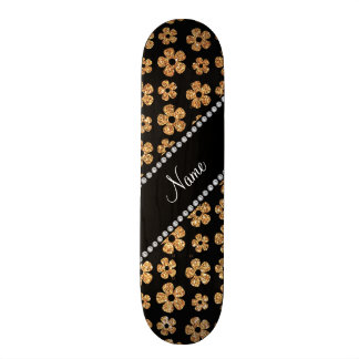 Personalized name pastel yellow glitter flowers skate board