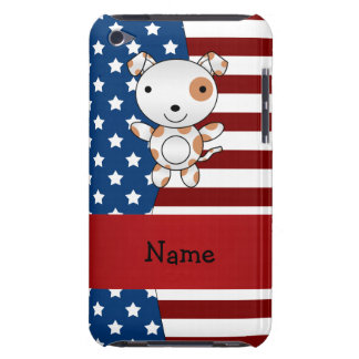 Personalized name Patriotic dog Barely There iPod Cases