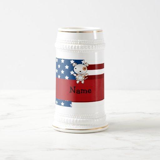 Personalized name Patriotic dog Mug