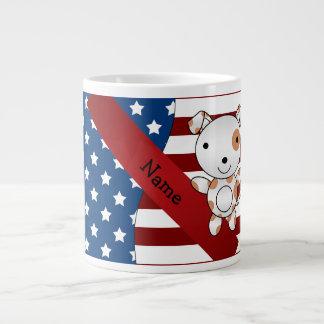 Personalized name Patriotic dog Jumbo Mug